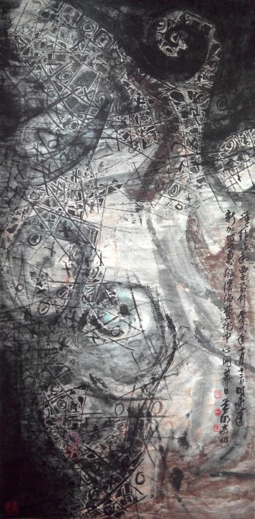 Wee Beng Chong《无往不利》2002彩墨 138 x 70cm (60;)