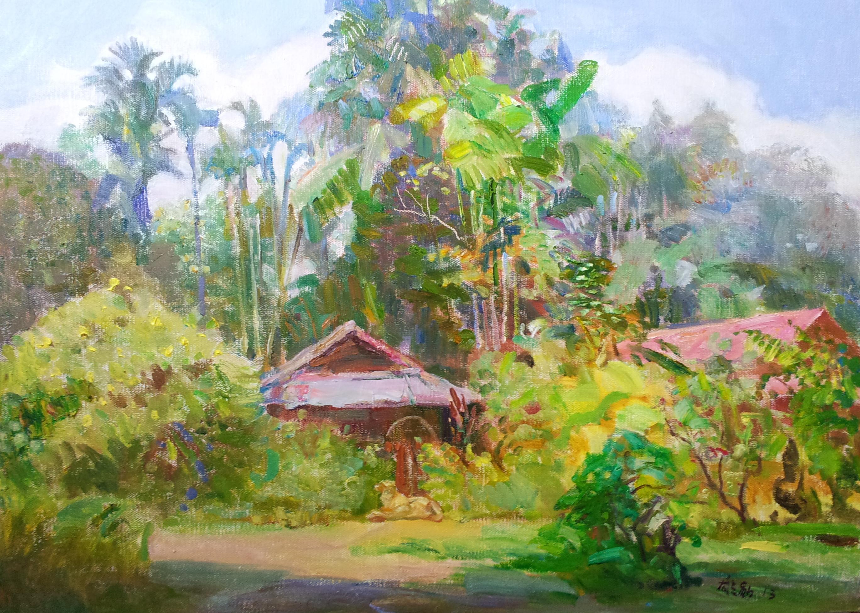 CHEN XIONGXUN - Village at Buangkok 2013   61x 92cm Oil on Canvas  $6,800