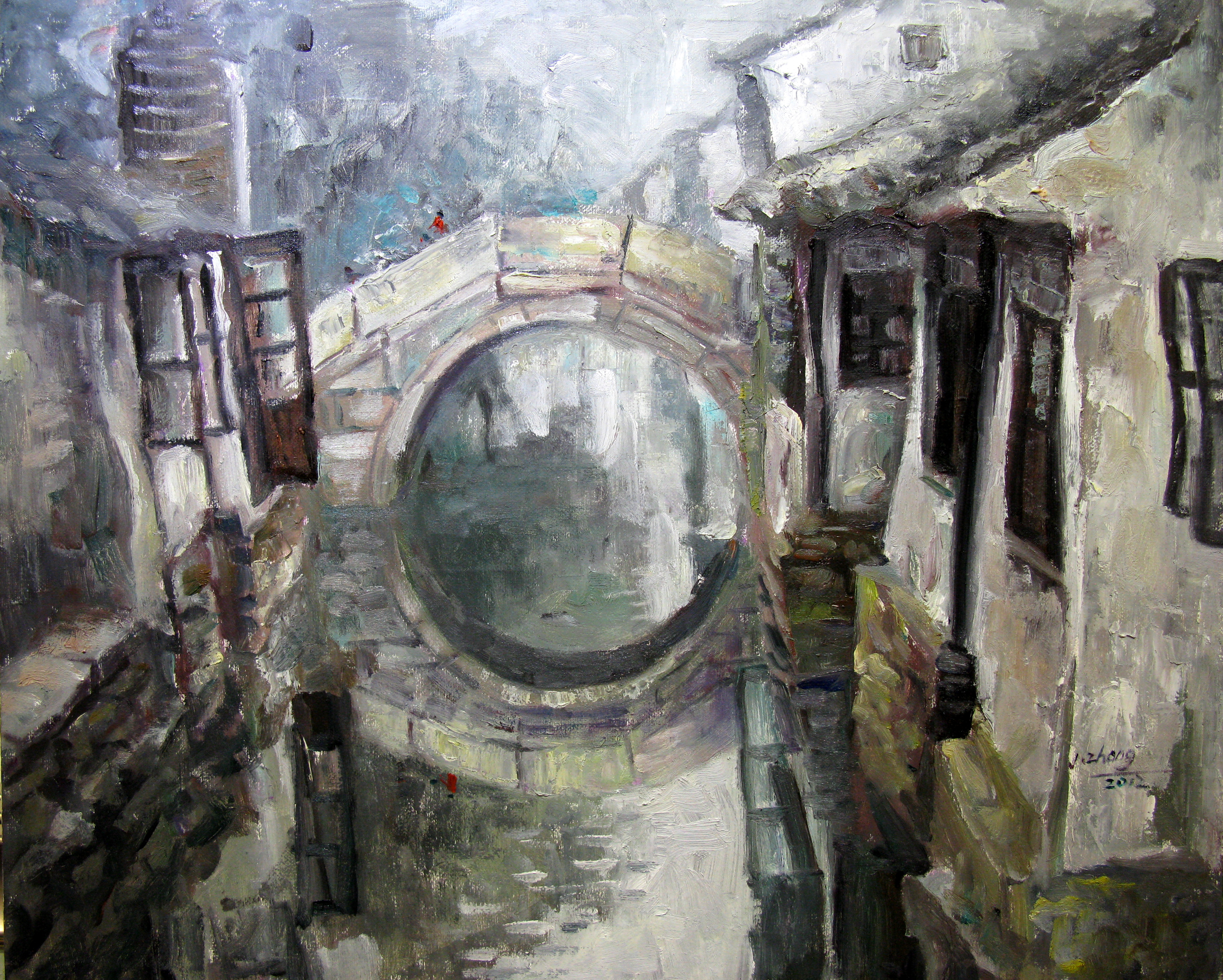 Qu Jinzhong - 水乡石拱桥3 2010 61x73cm Oil on Canvas $ 4,900