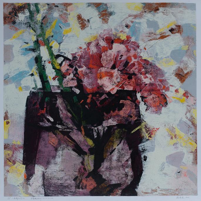 Xu Bojun - 花醉红尘2013 72 x 72cm    Lithograph $4,900