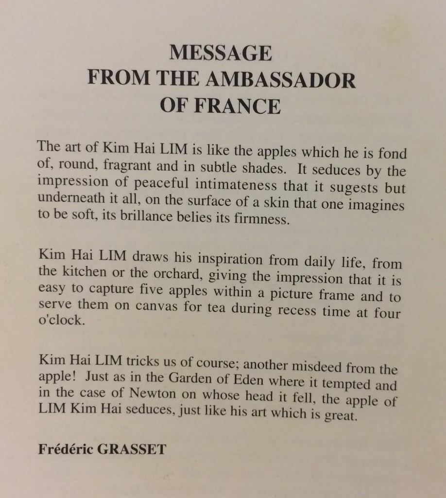 message ambassador of France